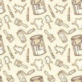 Configuration sans joint Pinceaux, brosses de rouleau, taches de peinture et Tin Cans Images stock
