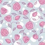 Configuration tirée par la main sans joint avec les roses roses Images stock