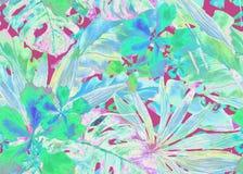 Configuration tropicale Paume de la Thaïlande d'aquarelle, monstera, ketmie, bananier illustration stock