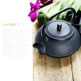 Configurations asiatiques de positionnement et de station thermale de thé image libre de droits