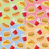 Configurations avec les aliments de préparation rapide illustration stock