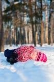 Configurations de chéri sur la neige en bois Photos libres de droits