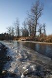 Configurations de glace de fleuve de point d'attache photos stock