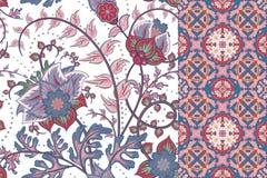 Configurations florales sans joint réglées Le vintage fleurit des milieux et des frontières avec le congé Ornements de vecteur illustration de vecteur