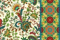 Configurations florales sans joint réglées Le vintage fleurit des milieux et des frontières avec le congé Ornements de vecteur illustration libre de droits