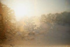 Configurations givrées sur la glace Humeur de Noël d'hiver Texture, photographie stock