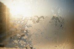 Configurations givrées sur la glace Humeur de Noël d'hiver Texture, photo stock