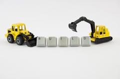 Configurazione del bulldozer e dell'escavatore Fotografia Stock