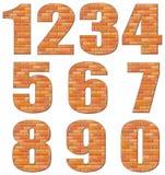 Configurazione di numeri di vettore dai mattoni rossi Fotografia Stock