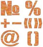 Configurazione di simboli di vettore dai mattoni rossi Immagine Stock Libera da Diritti