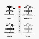 Configurazione, ingegneria, martello, riparazione, icona di servizio nella linea e nello stile sottili, regolari, audaci di glifo illustrazione di stock