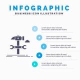 Configurazione, ingegneria, martello, riparazione, modello di Infographics di servizio per il sito Web e presentazione Icona grig illustrazione di stock