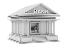 Configurazione in macchina di BANCOMAT dei contanti della Banca come costruzione della Banca rappresentazione 3d illustrazione di stock