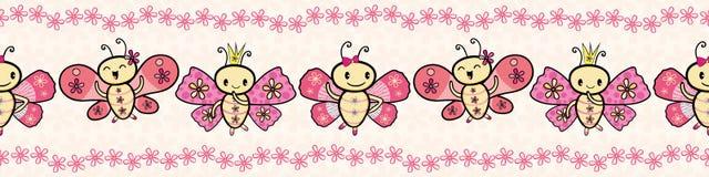 Confine ballante delle farfalle di stile disegnato a mano rosa sveglio di Kawaii con il bordo floreale Modello senza cuciture di  illustrazione vettoriale