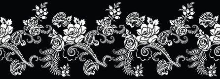 Confine in bianco e nero senza cuciture del fiore della rosa Immagini Stock Libere da Diritti