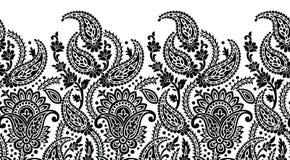 Confine in bianco e nero senza cuciture di Paisley Fotografia Stock