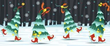 Confine con gli alberi di Natale di dancing Immagine Stock