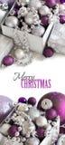 Confine d'argento e porpora degli ornamenti di Natale Immagine Stock