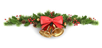 Confine dall'albero di Natale e dell'agrifoglio. Fotografia Stock Libera da Diritti