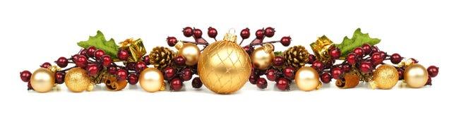 Confine degli ornamenti e dei rami di Natale Immagine Stock Libera da Diritti