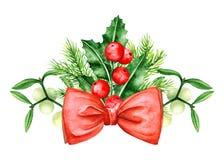 Confine dei brunch del pino e di Holly Berry Arco rosso Simboli di Natale Fotografie Stock Libere da Diritti