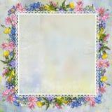 Confine dei fiori su un fondo delicato Immagine Stock