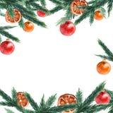 Confine dei rami di albero dell'abete con le palle di natale r watercolor immagini stock