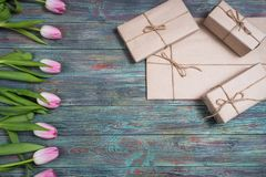 Confine dei tulipani rosa freschi della molla Fotografie Stock Libere da Diritti