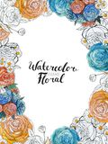 Confine del fiore dell'acquerello Fotografia Stock