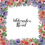 Confine del fiore dell'acquerello Immagini Stock Libere da Diritti