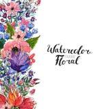 Confine del fiore dell'acquerello Fotografie Stock Libere da Diritti
