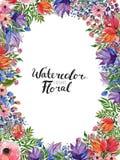 Confine del fiore dell'acquerello Immagini Stock
