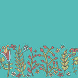 Confine del fiore, struttura senza cuciture con i fiori Uso come cartolina d'auguri Fotografia Stock Libera da Diritti