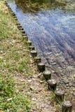 Confine del fiume fatto dalle colonne di legno Fotografia Stock