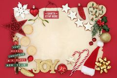 Confine del fondo con le decorazioni di Natale Fotografie Stock