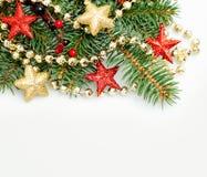 Confine del fondo di Natale con rosso e le stelle d'oro Fotografia Stock
