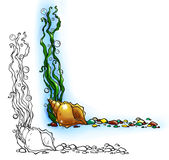 Confine del mare con le coperture e le alghe illustrazione vettoriale