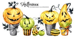 Confine dell'acquerello, insieme dei dolci con le zucche del fumetto Illustrazione di festa di Halloween Dessert divertente Magia illustrazione di stock