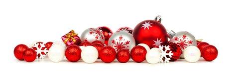 Confine dell'ornamento di natale bianco e di rosso Fotografia Stock