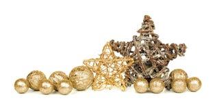 Confine dell'ornamento di Natale dell'oro Fotografia Stock