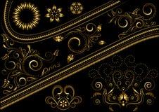 Confine dell'oro con il modello ed i dettagli per progettazione Fotografia Stock