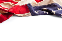 Confine della bandiera dell'America dell'annata isolato su bianco Immagini Stock Libere da Diritti