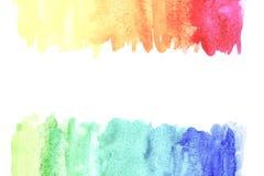Confine della pittura astratta della mano di arte dell'acquerello su fondo bianco Priorit? bassa dell'acquerello illustrazione di stock