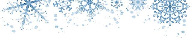 Confine di inverno con i fiocchi di neve blu su fondo bianco Illustrazione orizzontale dipinta a mano Fotografia Stock