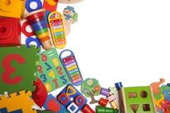 Confine di moltissimi giocattoli Fotografia Stock