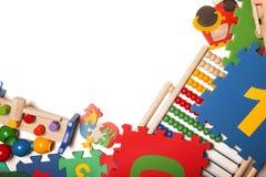 Confine di moltissimi giocattoli Immagini Stock
