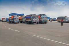 Confine di Petrapole - frontiera internazionale di commercio dell'India Bangladesh Fotografia Stock