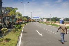 Confine di Petrapole - frontiera internazionale di commercio dell'India Bangladesh Fotografie Stock Libere da Diritti