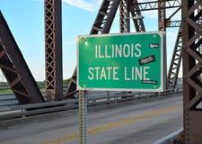 Confine di stato di Illinois segno al ponte di McKinley Fotografia Stock