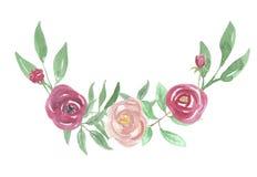 Confine dipinto Rose Frame Wedding Flower Hand rosso dell'arco acquerello Fotografia Stock
